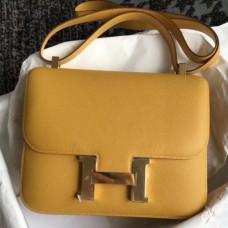 Hermes Epsom Constance 24cm Jaune Handmade Bags