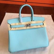 Hermes Blue Atoll Epsom Birkin 25cm Handmade Bags