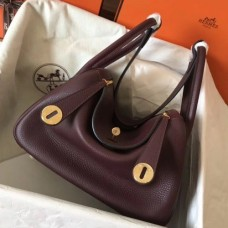 Hermes Bordeaux Lindy 26cm Clemence Handmade Bags