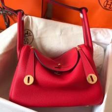 Hermes Red Lindy 26cm Clemence Handmade Bags