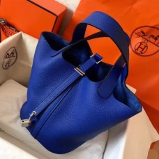 Hermes Blue Electric Picotin Lock PM 18cm Handmade Bags