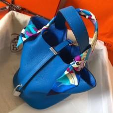 Hermes Blue Hydra Picotin Lock PM 18cm Handmade Bags