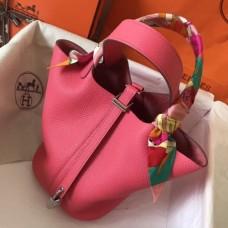 Hermes Rose Lipstick Picotin Lock PM 18cm Handmade Bags