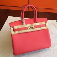 Hermes Rose Red Epsom Birkin 25cm Handmade Bags