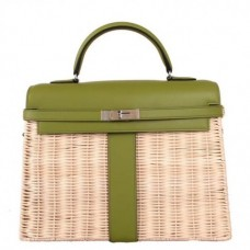 Hermes Green Picnic Kelly 35cm Wicker Bags