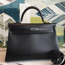 Hermes All Black Box Kelly 35cm Handmade Bags