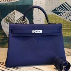 Hermes Blue Clemence Kelly 35cm Handmade Bags