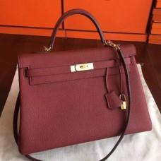 Hermes Bordeaux Clemence Kelly 35cm Handmade Bags