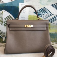 Hermes Taupe Clemence Kelly 35cm Handmade Bags