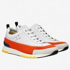 Hermes White/Orange Rapid Sneakers