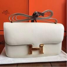 Hermes White Epsom Constance Elan 25cm Bags