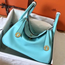 Hermes Blue Atoll Lindy 30cm Swift Handmade Bags