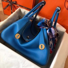 Hermes Blue Zanzibar Lindy 30cm Bicolor Handmade Bags