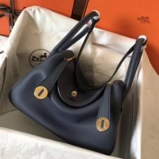 Hermes Dark Blue Lindy 30cm Clemence Handmade Bags
