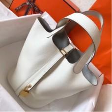Hermes White Picotin Lock MM 22cm Handmade Bags