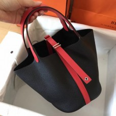 Hermes Bicolor Picotin Lock MM 22cm Black Bags