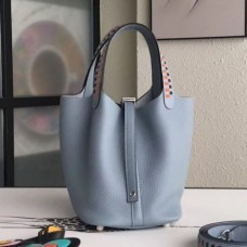 Hermes Blue Lin Picotin Lock 18cm Bags With Braided Handles