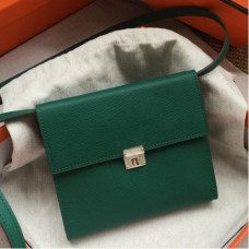 Hermes Green Clic 16 Wallet With Strap