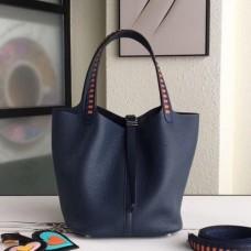 Hermes Navy Picotin Lock 22cm Braided Handles Bags