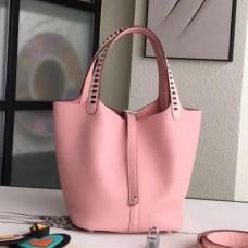 Hermes Pink Picotin Lock 22cm Braided Handles Bags
