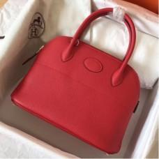 Hermes Red Clemence Bolide 27cm Handmade Bags