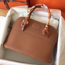 Hermes Gold Clemence Bolide 35cm Handmade Bags