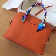 Hermes Orange Clemence Bolide 35cm Handmade Bags