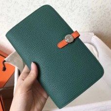 Hermes Bicolor Dogon Duo Wallet In Malachite/Orange Leather