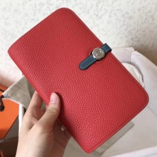 Hermes Bicolor Dogon Duo Wallet In Red/Jean Leather