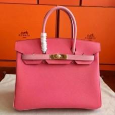 Hermes Rose Lipstick Espom Horseshoe Brikin 30cm Handmade Bags
