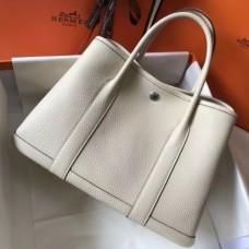 Hermes White Clemence Garden Party 30cm Handmade Bags