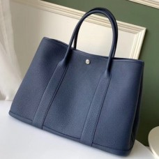 Hermes Navy Fjord Garden Party 30cm With Printed Lining