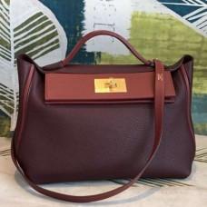 Hermes 24/24 29 Bags In Bordeaux Clemence Calfskin