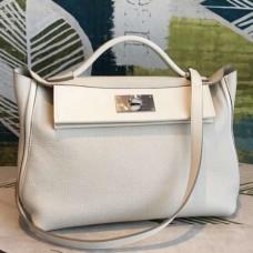 Hermes 24/24 29 Bags In White Clemence Calfskin