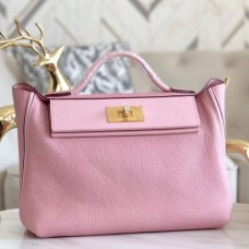 Hermes 24/24 29 Bags In Pink Clemence Calfskin