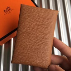 Hermes Brown Epsom Calvi Card Holder