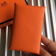 Hermes Orange Epsom Calvi Card Holder