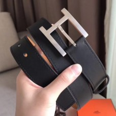 Hermes James 35MM Belt In Black Box Calfskin