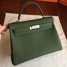 Hermes Canopee Clemence Kelly Retourne 32cm Handmade Bags