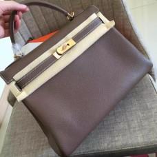 Hermes Etoupe Clemence Kelly Retourne 32cm Handmade Bags