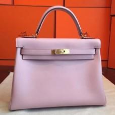 Hermes Rose Dragee Swift Kelly Retourne 32cm Handmade Bags