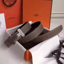 Hermes Grey Clemence Kits Belt 32mm Quizz H Buckle