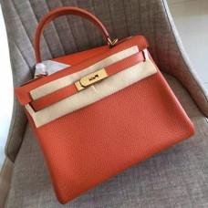 Hermes Orange Clemence Kelly Retourne 28cm Handmade Bags