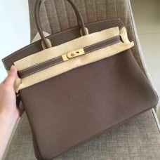 Hermes Etoupe Clemence Birkin 35cm Handmade Bags