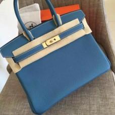 Hermes Blue Jean Clemence Birkin 35cm Handmade Bags