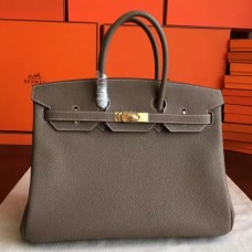 Hermes Etoupe Clemence Birkin 40cm Handmade Bags