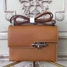 Hermes Brown Epsom Verrou Shoulder Handmade Bags