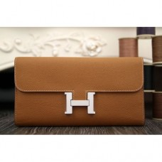 Hermes Constance Wallet In Brown Epsom Leather