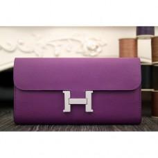 Hermes Constance Wallet In Purple Epsom Leather