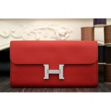 Hermes Constance Wallet In Red Epsom Leather